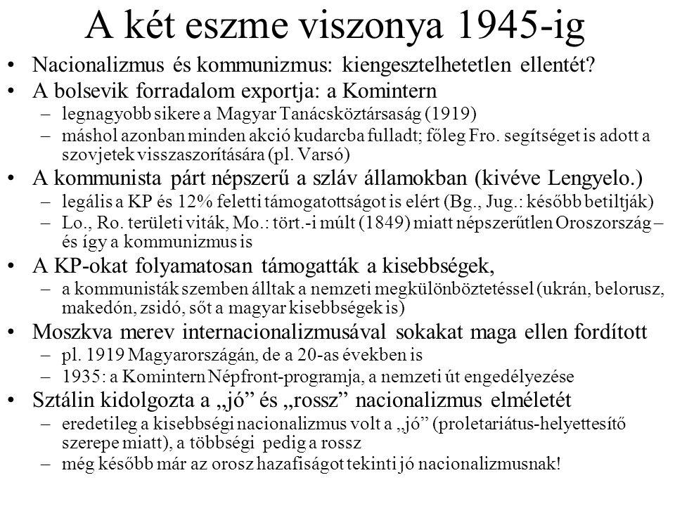 A két eszme viszonya 1945-ig