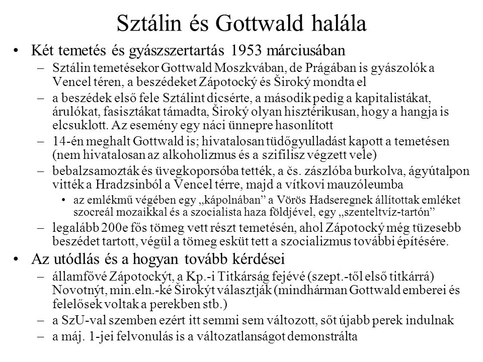 Sztálin és Gottwald halála