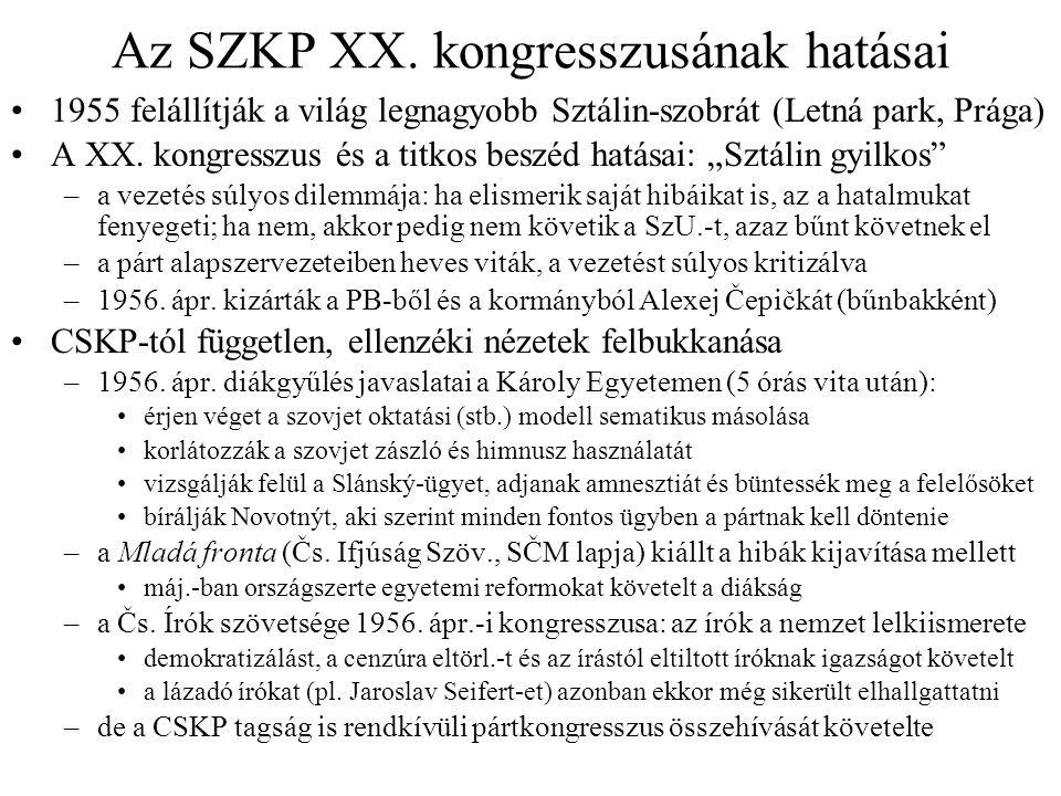 Az SZKP XX. kongresszusának hatásai