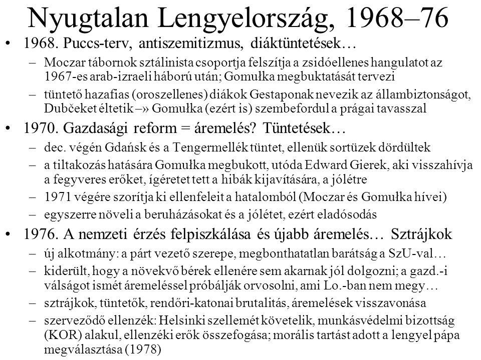 Nyugtalan Lengyelország, 1968–76