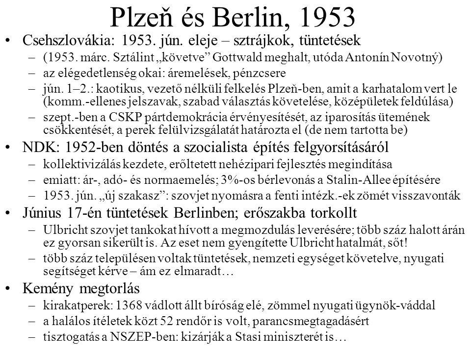 Plzeň és Berlin, 1953 Csehszlovákia: 1953. jún. eleje – sztrájkok, tüntetések.
