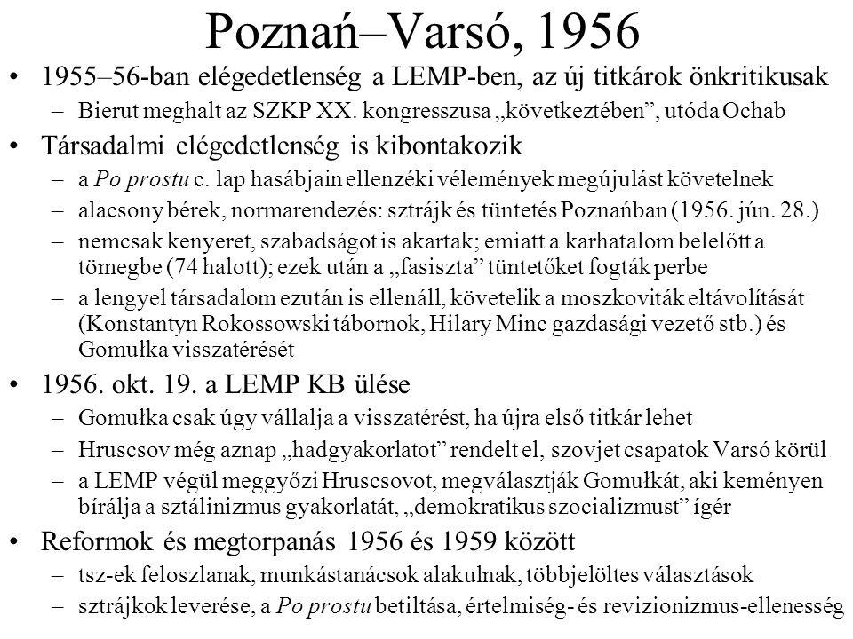 Poznań–Varsó, 1956 1955–56-ban elégedetlenség a LEMP-ben, az új titkárok önkritikusak.