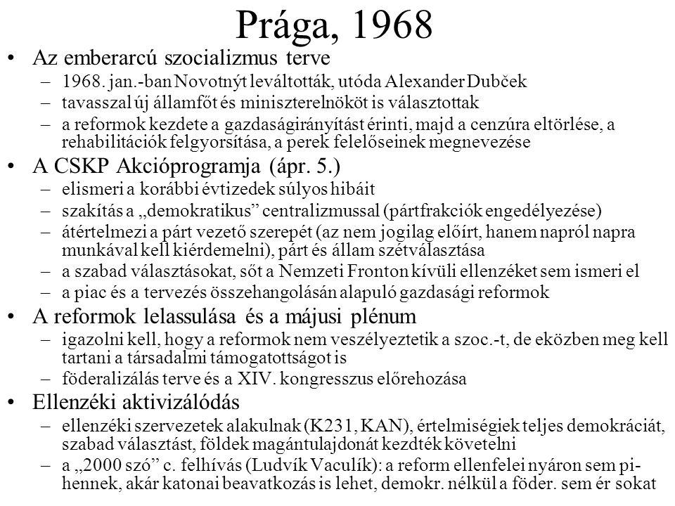 Prága, 1968 Az emberarcú szocializmus terve