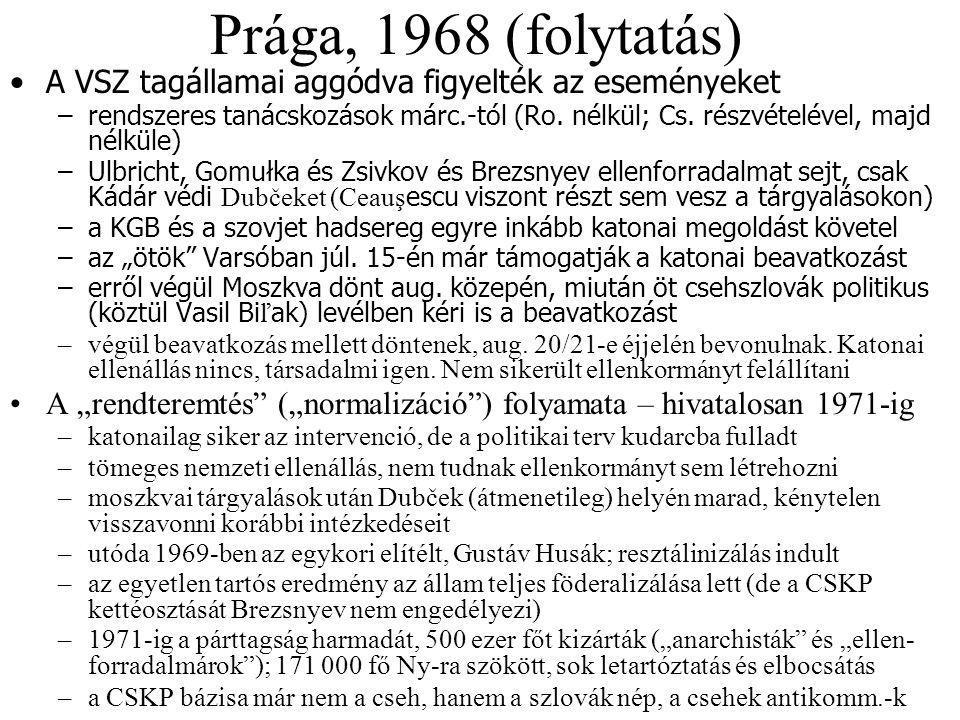 Prága, 1968 (folytatás) A VSZ tagállamai aggódva figyelték az eseményeket.