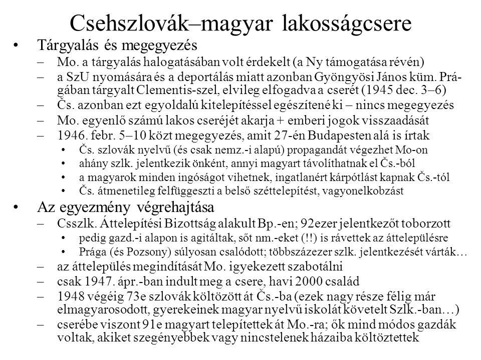 Csehszlovák–magyar lakosságcsere