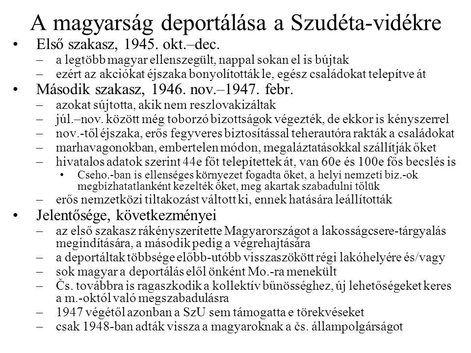 A magyarság deportálása a Szudéta-vidékre