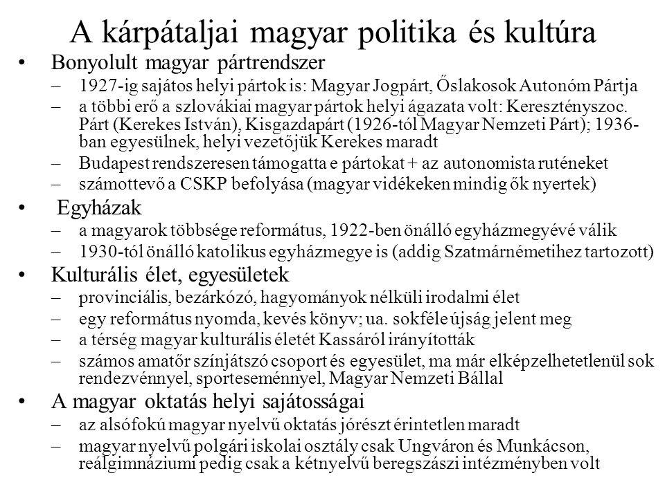 A kárpátaljai magyar politika és kultúra
