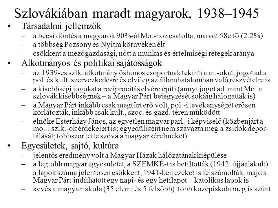 Szlovákiában maradt magyarok, 1938–1945