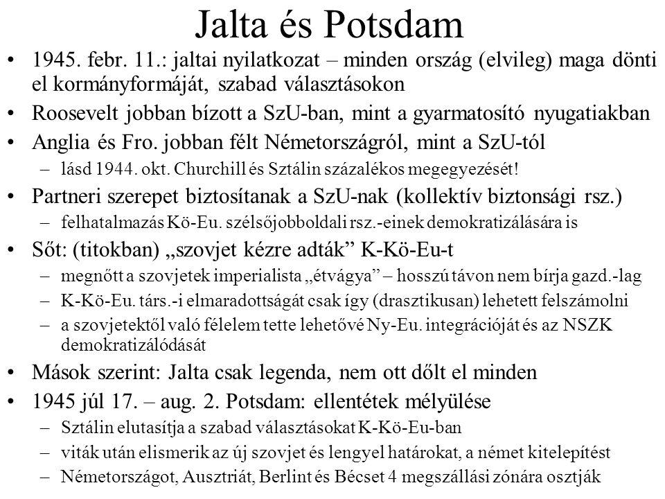 Jalta és Potsdam 1945. febr. 11.: jaltai nyilatkozat – minden ország (elvileg) maga dönti el kormányformáját, szabad választásokon.
