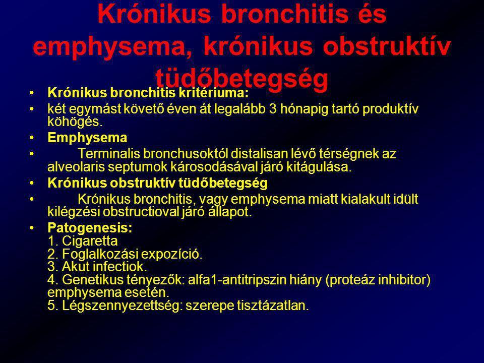 Krónikus bronchitis és emphysema, krónikus obstruktív tüdőbetegség