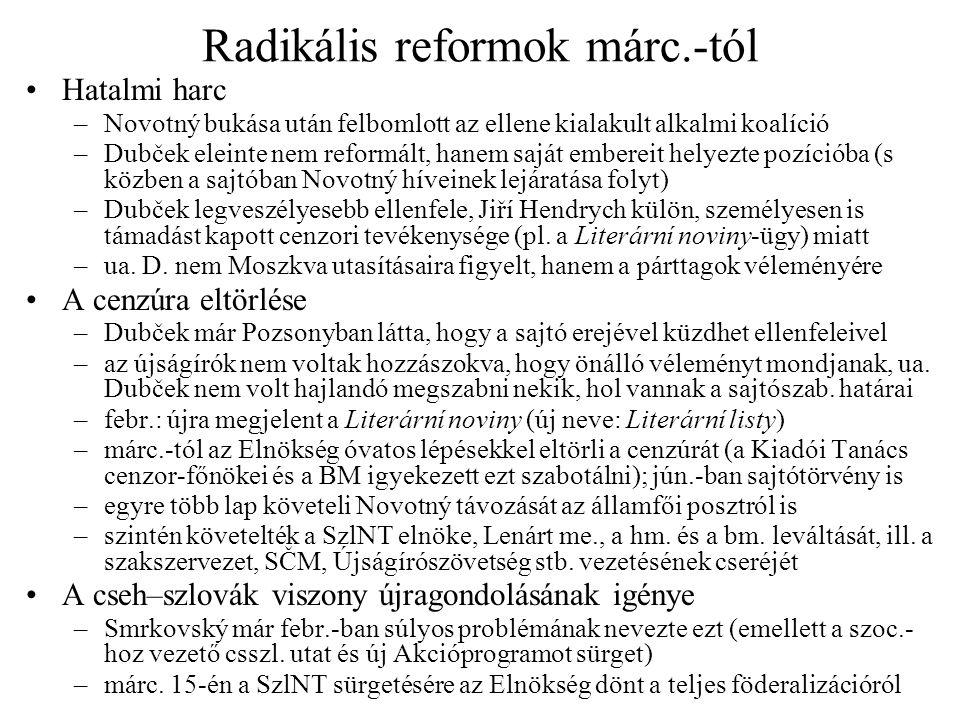 Radikális reformok márc.-tól