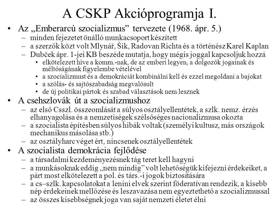 A CSKP Akcióprogramja I.