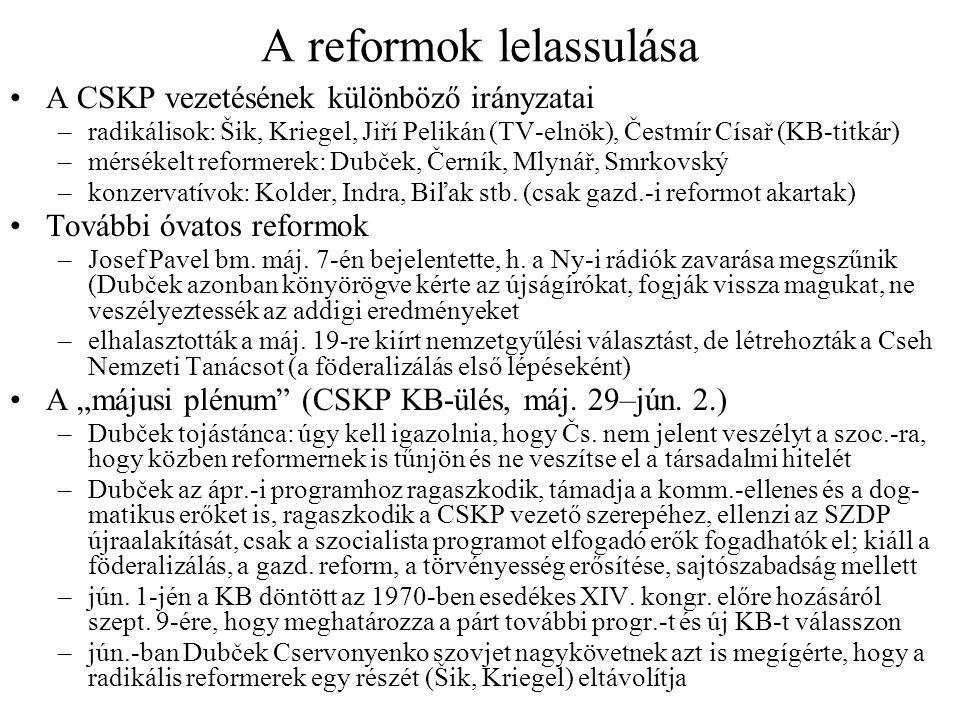 A reformok lelassulása