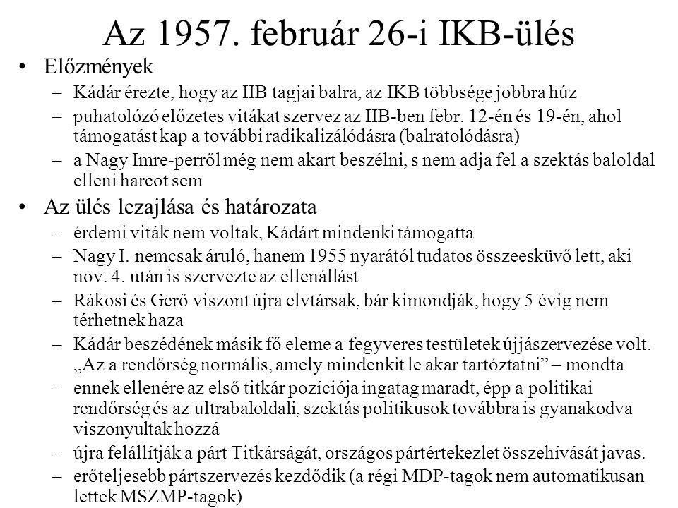 Az 1957. február 26-i IKB-ülés Előzmények