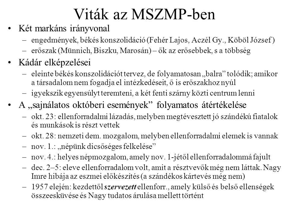 Viták az MSZMP-ben Két markáns irányvonal Kádár elképzelései