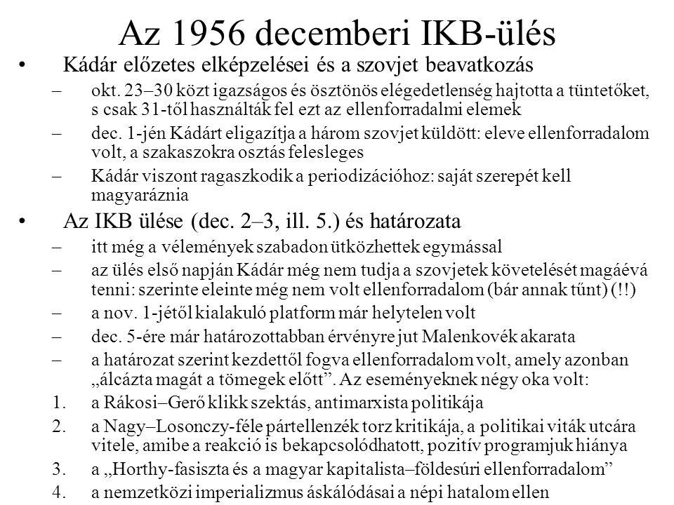 Az 1956 decemberi IKB-ülés Kádár előzetes elképzelései és a szovjet beavatkozás.