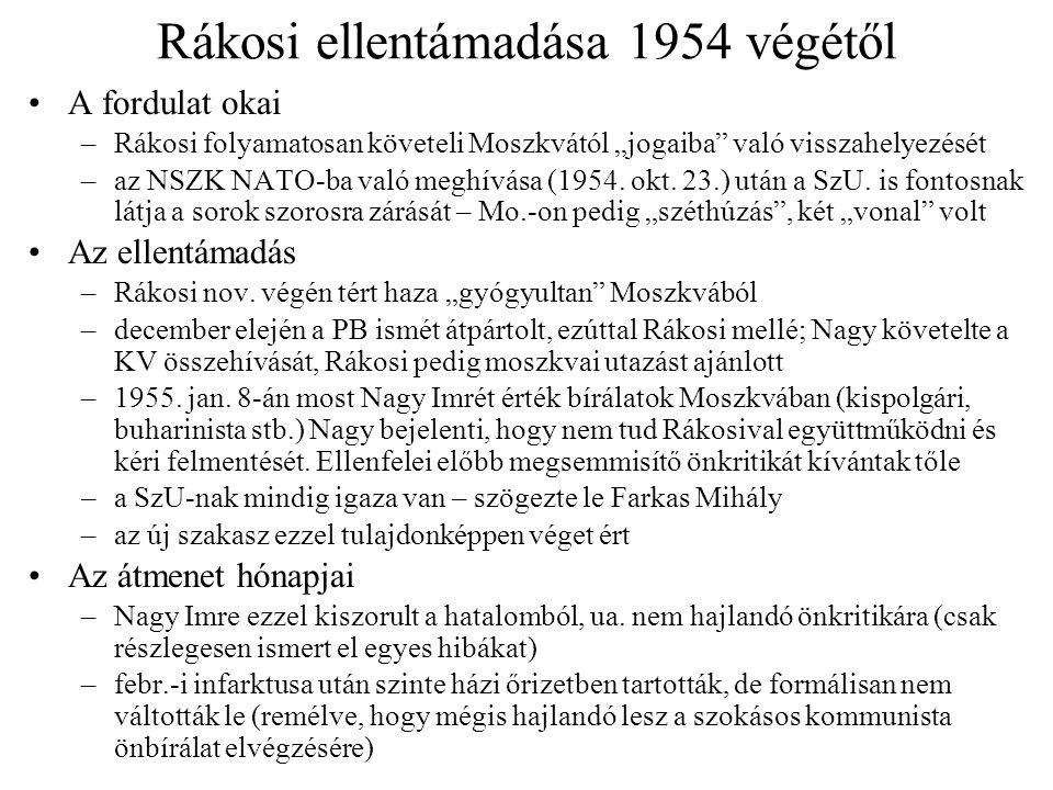 Rákosi ellentámadása 1954 végétől