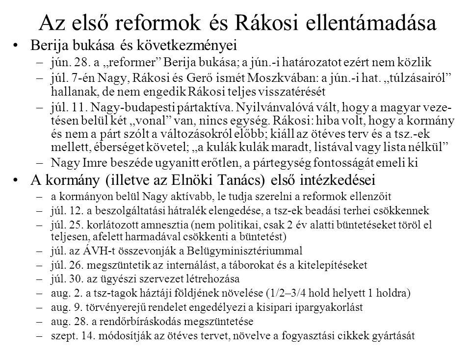 Az első reformok és Rákosi ellentámadása