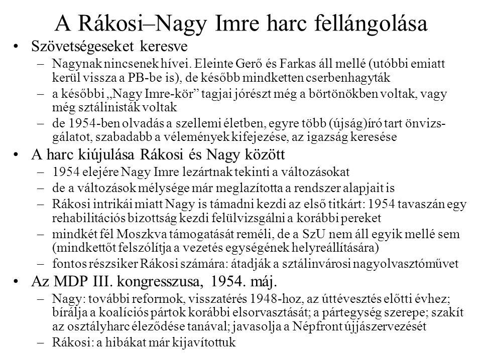 A Rákosi–Nagy Imre harc fellángolása
