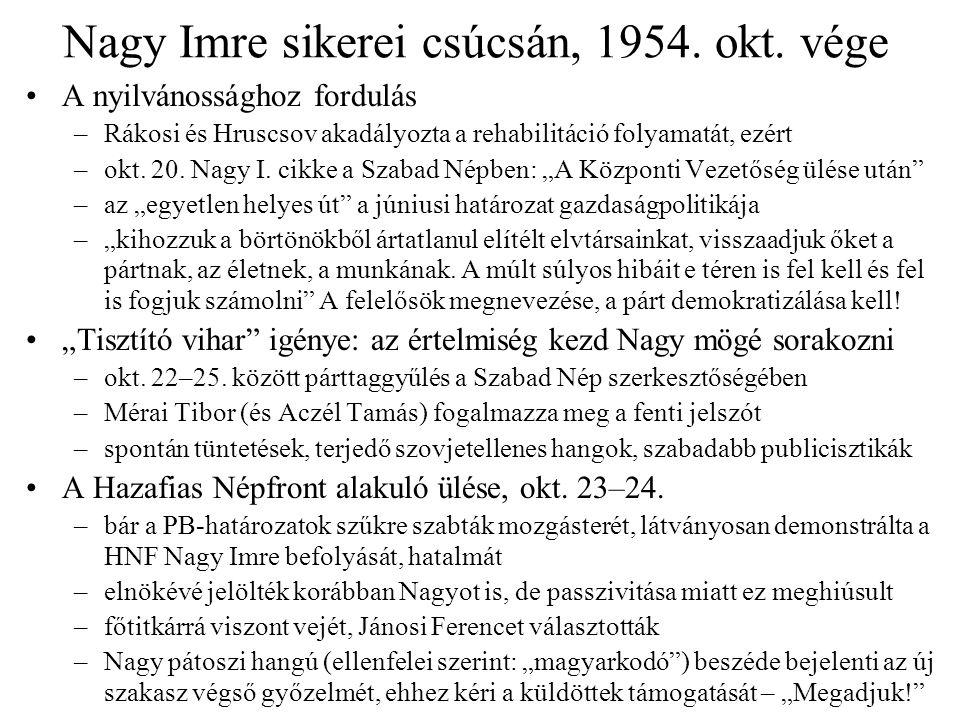 Nagy Imre sikerei csúcsán, 1954. okt. vége