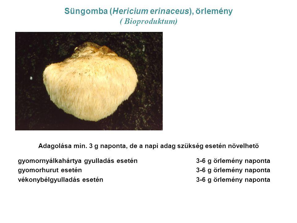 Süngomba (Hericium erinaceus), örlemény ( Bioproduktum) Adagolása min