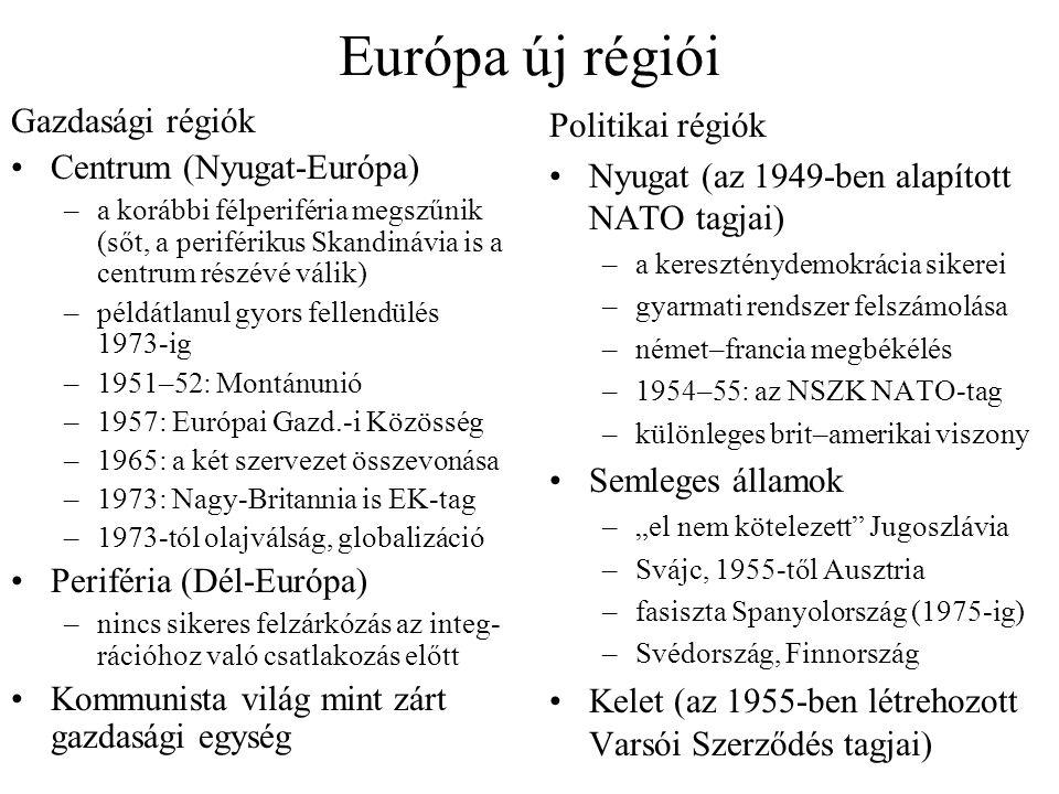 Európa új régiói Gazdasági régiók Centrum (Nyugat-Európa)