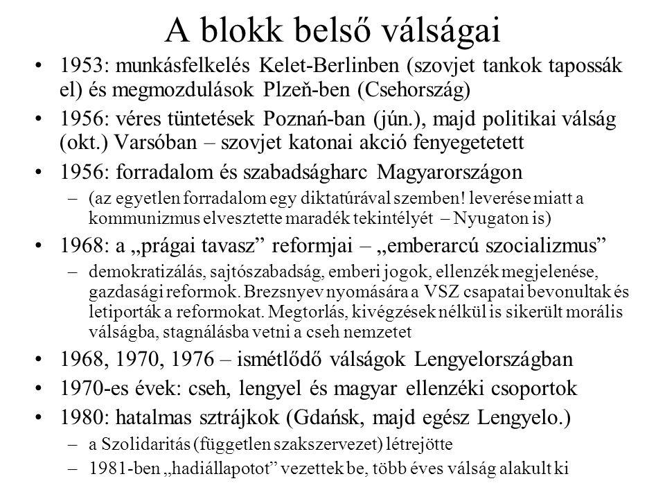 A blokk belső válságai 1953: munkásfelkelés Kelet-Berlinben (szovjet tankok tapossák el) és megmozdulások Plzeň-ben (Csehország)