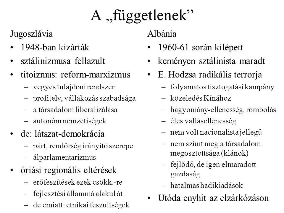 """A """"függetlenek Jugoszlávia 1948-ban kizárták sztálinizmusa fellazult"""