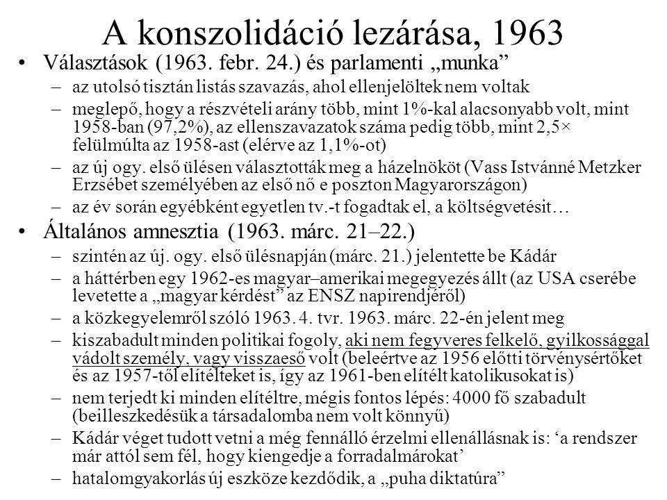 A konszolidáció lezárása, 1963