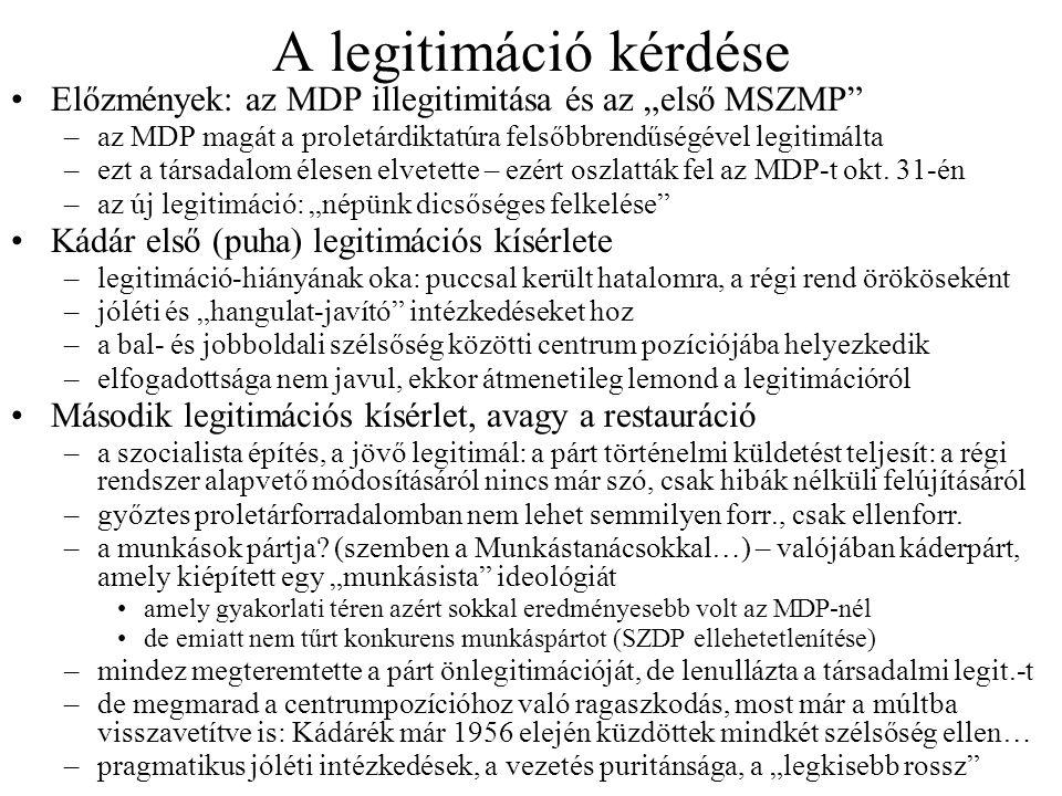 """A legitimáció kérdése Előzmények: az MDP illegitimitása és az """"első MSZMP az MDP magát a proletárdiktatúra felsőbbrendűségével legitimálta."""