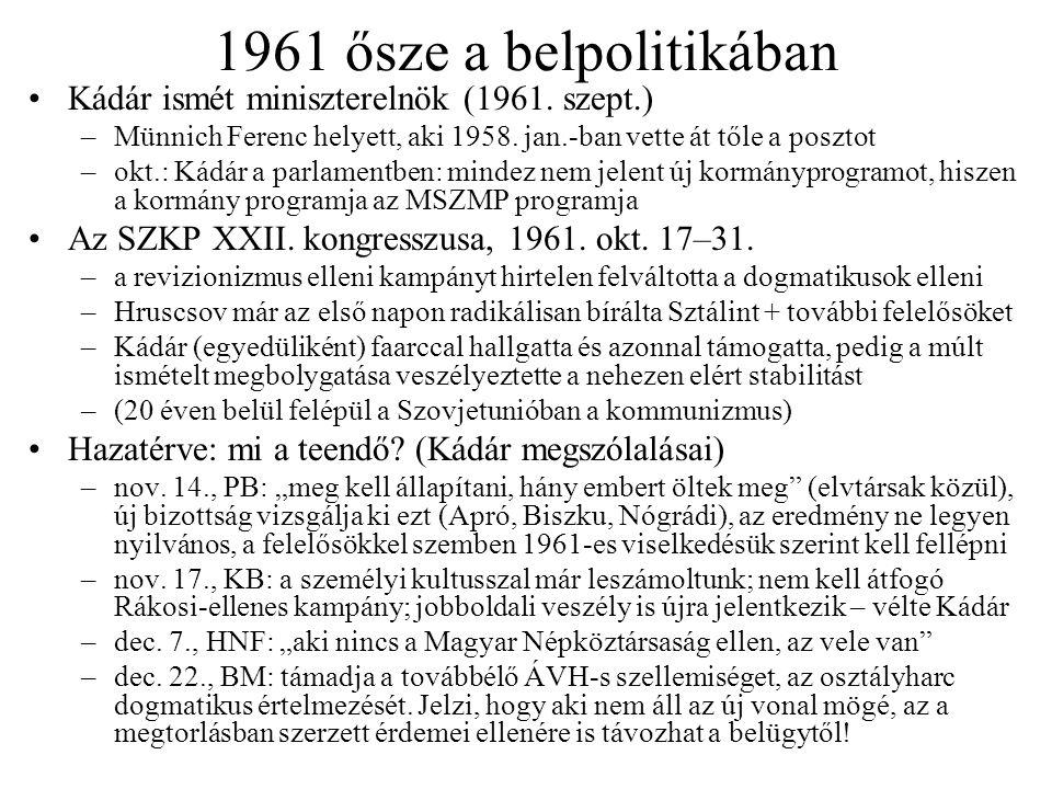 1961 ősze a belpolitikában Kádár ismét miniszterelnök (1961. szept.)