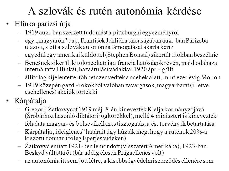 A szlovák és rutén autonómia kérdése