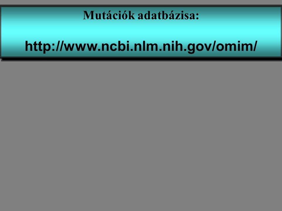 Mutációk adatbázisa: http://www.ncbi.nlm.nih.gov/omim/
