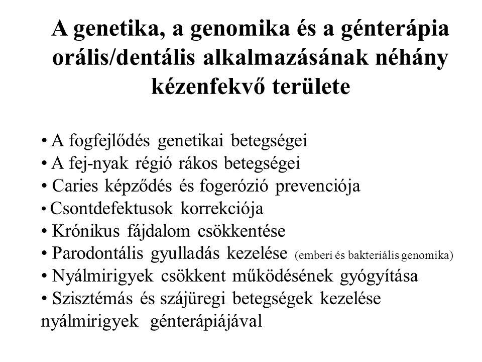 A genetika, a genomika és a génterápia orális/dentális alkalmazásának néhány kézenfekvő területe