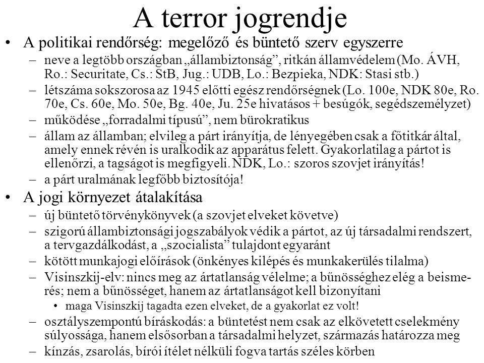A terror jogrendje A politikai rendőrség: megelőző és büntető szerv egyszerre.