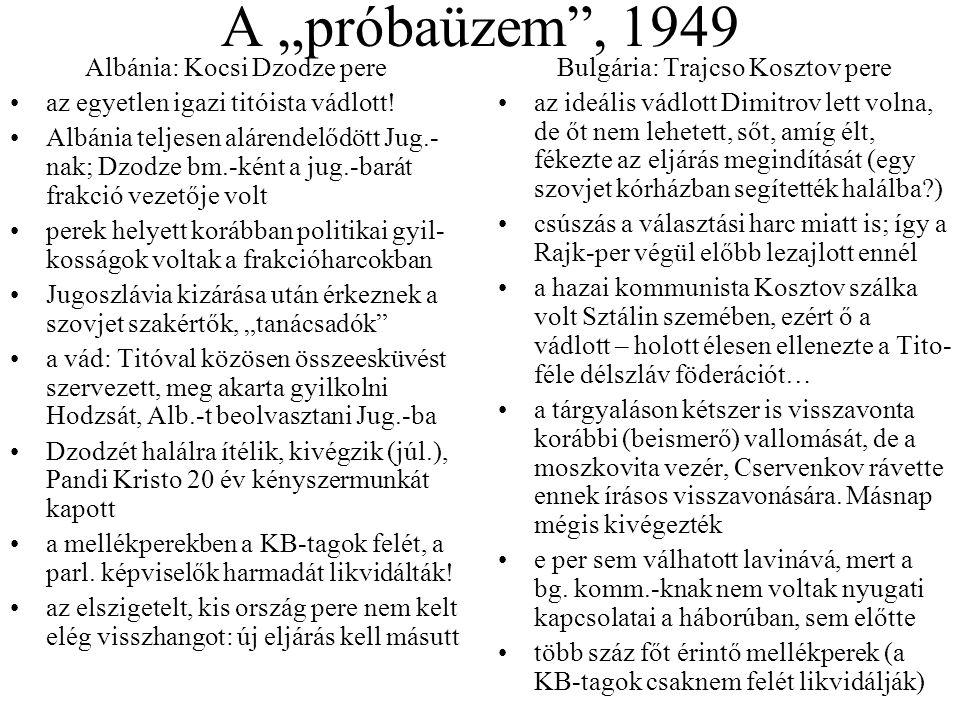 """A """"próbaüzem , 1949 Albánia: Kocsi Dzodze pere"""