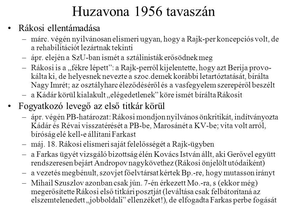 Huzavona 1956 tavaszán Rákosi ellentámadása