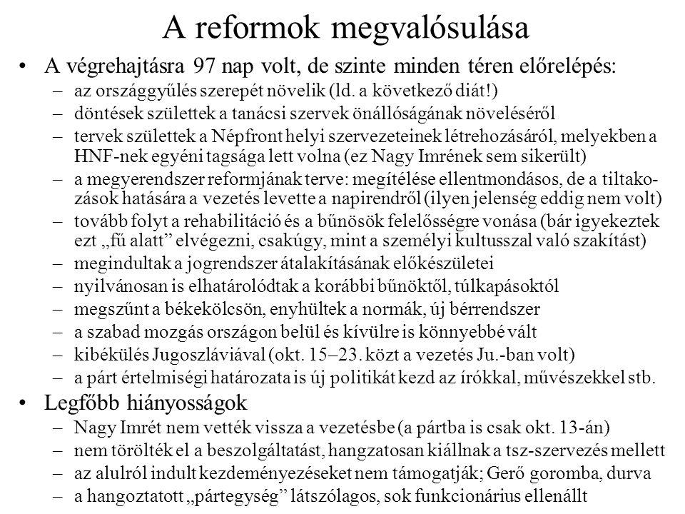 A reformok megvalósulása