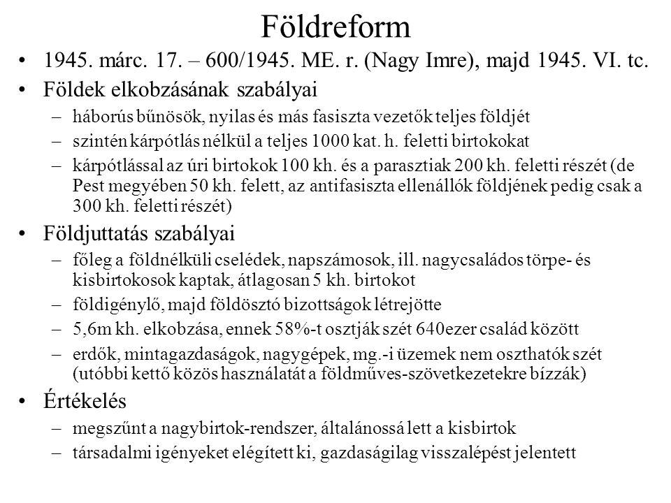 Földreform 1945. márc. 17. – 600/1945. ME. r. (Nagy Imre), majd 1945. VI. tc. Földek elkobzásának szabályai.