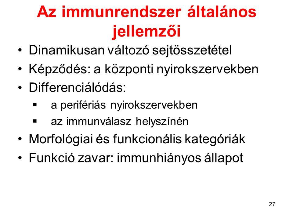 Az immunrendszer általános jellemzői