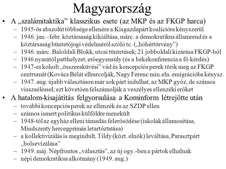"""Magyarország A """"szalámitaktika klasszikus esete (az MKP és az FKGP harca) 1945-ös abszolút többsége ellenére a Kisgazdapárt koalícióra kényszerül."""