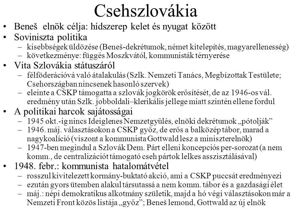 Csehszlovákia Beneš elnök célja: hídszerep kelet és nyugat között