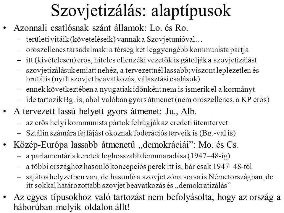 Szovjetizálás: alaptípusok