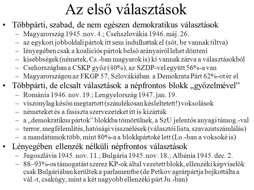 Az első választások Többpárti, szabad, de nem egészen demokratikus választások. Magyarország 1945. nov. 4.; Csehszlovákia 1946. máj. 26.