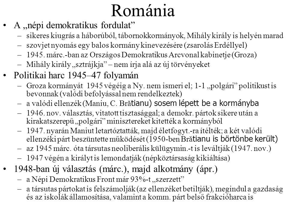 """Románia A """"népi demokratikus fordulat Politikai harc 1945–47 folyamán"""