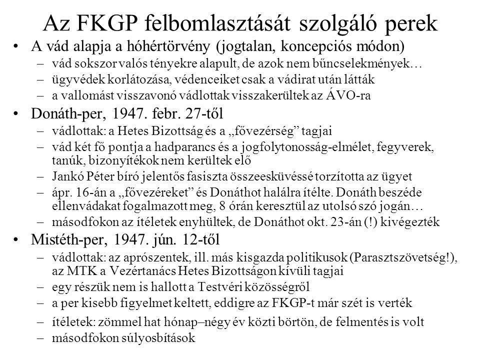 Az FKGP felbomlasztását szolgáló perek
