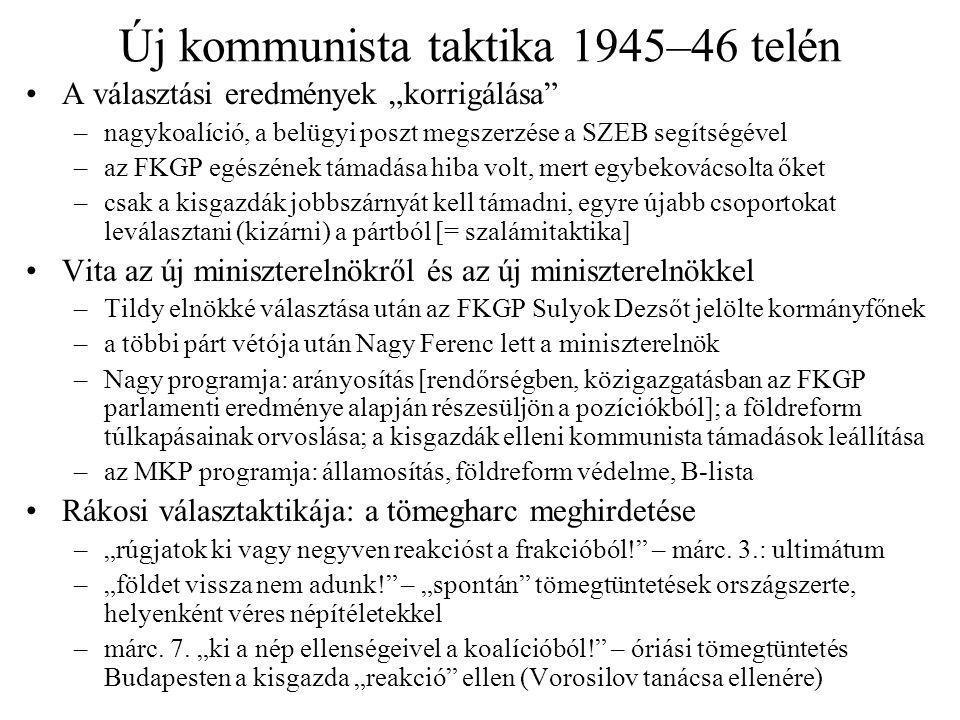 Új kommunista taktika 1945–46 telén