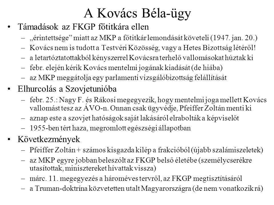 A Kovács Béla-ügy Támadások az FKGP főtitkára ellen