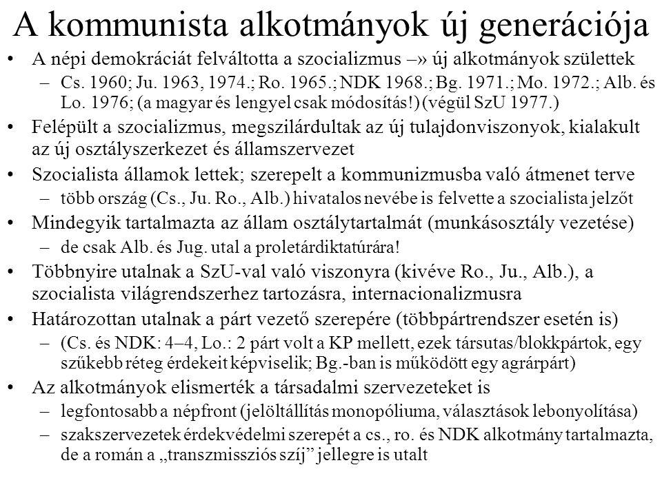 A kommunista alkotmányok új generációja