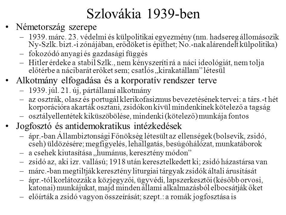Szlovákia 1939-ben Németország szerepe